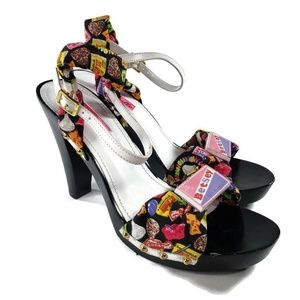 Betseyville Womens Sandals Black Multicolor Candy